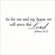 Fangeplus(TM) DIY Removable As for Me and My House We Will Serve the Lord Vinyl Wall Art Inspirational Quotes Wall Stickers Decor Decal Sticker 60cm x 16cm