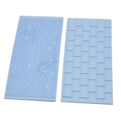 Kicode 2Pcs Fondant Wall Brick Wood Grain Impression Cake Decor Silicone Baking Mould DIY