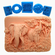 2D Enchanting Elephants - Detail of high relief sculpture - Silicone Soap/sugar/fondant/chocolate/marzipan 2d Mould, cake mould, chocolate mould