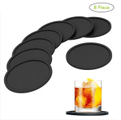 DECORA 8 Pieces Silicone Drink Coasters - Non-slip Round Soft Coaster Rubber Cup Pad Mat - Tabletop Protection – Easy to Clean - Black