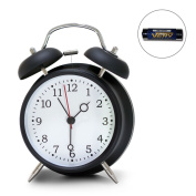 "4"" Twin Bell Alarm Clock, Loud Retro Alarm Clock, Battery Operated With"