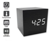 Dsstyles Modern Wooden Led Square Cube Digital Alarm Thermometer Timer Calendar
