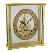 Contemporary Gold Mantel Table Clock W Skeleton Dial 16cm