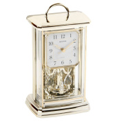 Rhythm Oblong Gold Gilt Mantel Clock W Crystal Pendulum