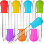 8 Pcs Liquid Droppers, SENHAI Silicone and Plastic Pipettes Transfer Eyedropper with Bulb Tip for Candy Oil Kitchen Kids Gummy Making - 7 Colours