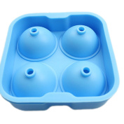 Ice Mould Tray, Diameter 4.5cm Round Ice Ball Maker Hard Plastic Base, Food Grade Silicone Cover, Dishwasher Safe
