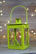 Fantado 11cm Light Lime Square Hurricane Candle Lantern by PaperLanternStore