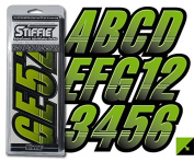 STIFFIE Techtron Atomic Green/Black 7.6cm Alpha-Numeric Registration Identification Numbers Stickers Decals for Boats & Personal Watercraft