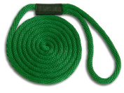 1.3cm x 7.6m Green Solid Braid Nylon Dock Line - Made in USA