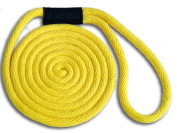 1cm x 4.6m Yellow Solid Braid Nylon Dock Line - Made in USA
