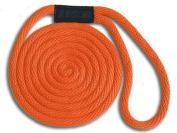 1.3cm x 7.6m Orange Solid Braid Nylon Dock Line - Made in USA