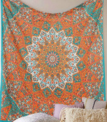 Orange Star Mandala Psychedelic Tapestry Hippie Bohemian Tapestry Wall Hanging Dorm Bedspread Bedding Bed Cover Ethnic Home Decor Dorm Tapestry Bedding Dorm Decor