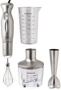 Ovente Hand Immersion Blender Set, Stainless Steel, Silver, HS585S