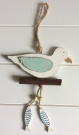 Sass & Belle Shabby Rustic Wooden Nautical Seagull & Fish Hanging Decoration
