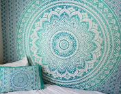 Turquoise Twin Green Ombre Tapestry Teal Aqua Hippie Wall Tapestries Ombre Bedding Dorm Decor Mandala Tapestry Indian Mandala Wall Art Bohemian Bedspread by Jaipur Handloom