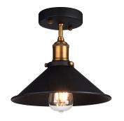 Industrial Ceiling Light,Oak Leaf Semi Flush Vintage Metal 1-Light Pendant Lighting Shade Chandelier