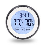 Hippih Digital Magnet Wall Clock with Indoor Thermometer Humidity Monitor,Touchscreen and Back Light