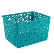InterDesign Blumz Household Storage Basket for Office, Garage, Bathroom and more - 25cm x 19cm x 14cm , Teal