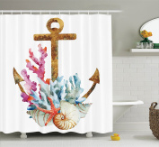 Anchor Decor Shower Curtain Set By Ambesonne, Anchor With Corals Seaweed Nature Deep Sea Underwater Life Diving Enjoyment , Bathroom Accessories, 210cm Extralong