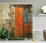 Shutters Decor Shower Curtain Set By Ambesonne, Old Fashion Country House French Style Entrance Stone Wall Farmhouse Picture Print, Bathroom Accessories, 69W X 70L Inches, Brown Green