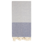 Hand Loomed Pestemal Striped Turkish Bath Towel 34x66 %100 CottonTM by Cacala Darkblue