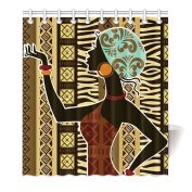 HommomH 170cm x 180cm Shower Curtain With Hooks Bathroom Anti-Bacterial Waterproof African Woman Art