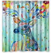 Deer Colour Painting 170cm (w) x 180cm (h) Bath Shower Curtain