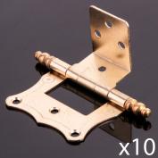 10x Brass 7.6cm Repro Finial Cranked Hinge Flush Traditional Wood Furniture Door