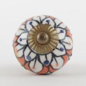 Orange Flower Blue Dot Imperfect Ceramic Furniture Cupboard Door Knob Handle