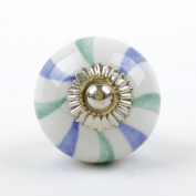White Blue Green Petal Ceramic Furniture Cupboard Door Knob Handle Shabby Chic