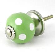 Revesun 6pc Green White Dot Ceramic Door Knob/kitchen Drawer Pulls/kitchen Pulls