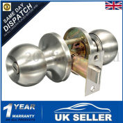 Stainless Steel Round Door Knobs Handles Passage Entrance Privacy Lock Latch Uk