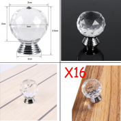 16xreal Clear Crystal Diamond Door Knobs Handles Drawer Wardrobe Cabinet Handle