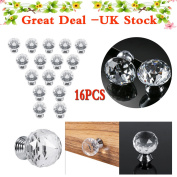 16x 30mm Clear Crystal Glass Door Knobs Handles Diamond Drawer Cabinet Furniture