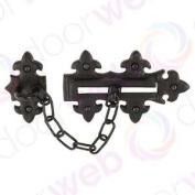 Black Door Chain Security Lock Heavy Duty Guard Antique Fleur De Lys Cast Iron