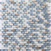 White Brown Blue Silver Stone Glass Mix Bathroom Glass Mosaic Wall Tiles Mt0125