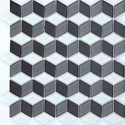 Sample 3d Effect White, Grey & Black Glass Mosaic Tiles Bathroom