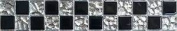 Black And Silver Glass Mosaic Wall Tiles Border Or Feature Strip Mb0007