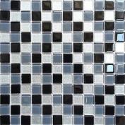Black Grey Glitter Silver Glass Wall Border Splashback Mosaic Tiles Sheet Mt0014