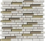 Mosaic Wall Tiles Beige Glass Stone Brick Bathroom Basin Diy Shower Walls 001