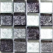 Mosaic Wall Tiles Glass Black And Silver Mix Bathroom And Kitchen Sample Mt0004