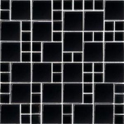 Polished Black Glass Mosaic Bathroom Wall Tiles Basin Kitchen Splashback Mt0025