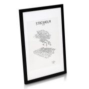 SOLID WOOD Photo Frame 50x70 cm - With 40x50 cm Picture Mount - Perspex Front - Frame Width 3 cm - Black