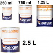 Berger Non Drip Gloss Interior Exterio Wood Metal Pure Brilliant White All Sizes