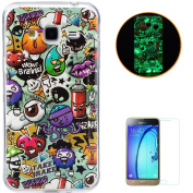 Samsung Galaxy J3/J310 Soft Silicone Gel Case KaseHom Luminous Effect Shock Absorption Cover [with Free Screen Protector] Green Fluorescent Glow in the Dark Excellent Colourful Printing Pattern Design Dustproof Jelly Clear TPU Rubber Skin Protective Bu ..