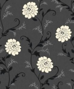 Debona Floral Gemma Black White Flower Silver Daisy Wallpaper Leaf Plant Tree