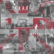Muriva Britannia City Wallpaper Red / Grey / Black - 102059