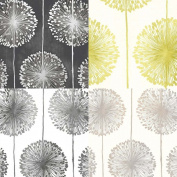 Muriva Dandelion Floral Wallpaper Black / Grey / Cream / Gold / Lime / Green