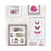 Muriva Live Laugh Love Frames Wallpaper Pink / Cream / Red / Purple / Blue