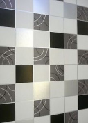 Dotty Wallpaper Kitchen Bathroom Black Silver Tile Effect Washable
